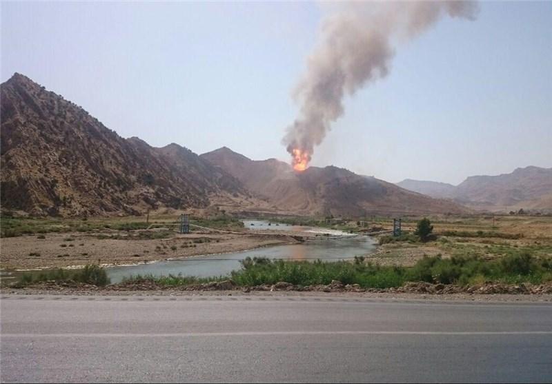 عکس/ آتشسوزی در خط لوله پلی اتیلن پلدختر