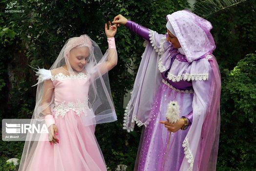 تصاویر/ تحقق رویای کودک مبتلا به سرطان با لباس عروس