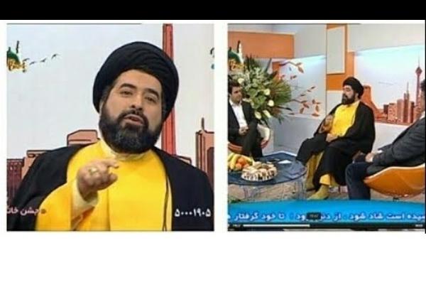 تصاویر/ یک روحانی با لباس زرد در تلویزیون