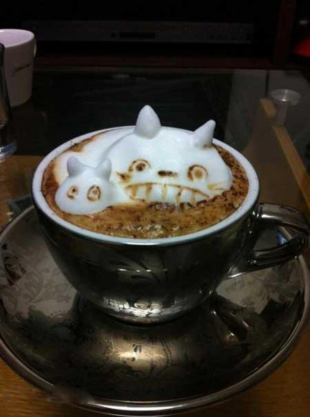 نقاشی های جالب و سه بعدی روی قهوه