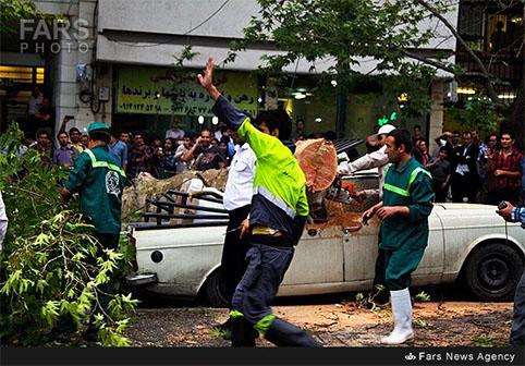 تصاویر/خسارات ناشی از طوفان گرد و غبار در تهران