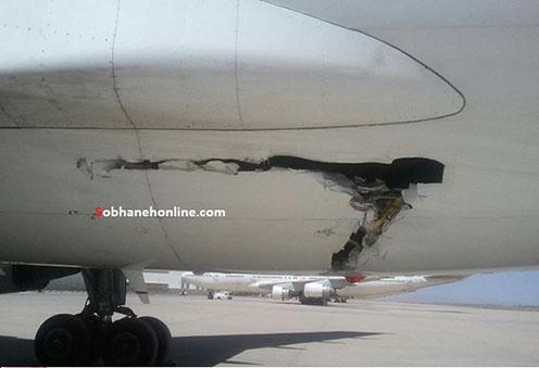 برخورد شدید اتوبوس با ایرباس در فرودگاه امام +تصاویر