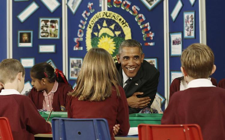 عکس/ اوباما در مدرسه ابتدایی