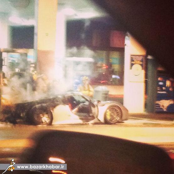 تصاویر/پورشه8500000دلاری که در آتش سوخت