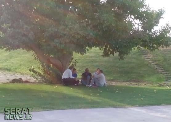 عکس/ فرار قلعهنویی و کریمی به زیر درخت