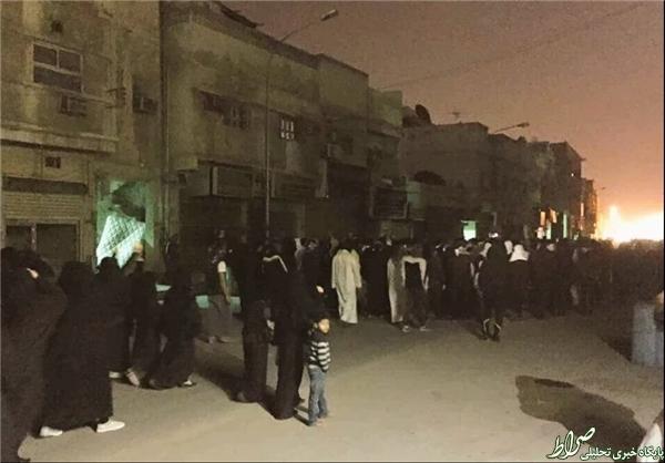 معترضان در قطیف یک اتوبوس را به آتش کشیدند+عکس