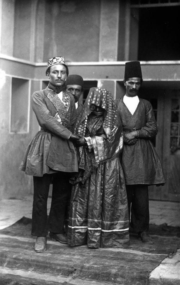 عکس/ عروس و داماد در دوره قاجار