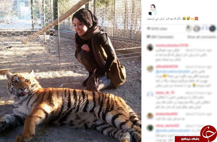 دوستی خانم بازیگر با ببر و میمون +تصاویر