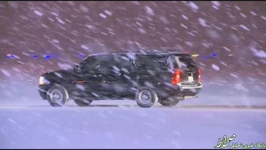 اوباما در برف گرفتار شد +عکس