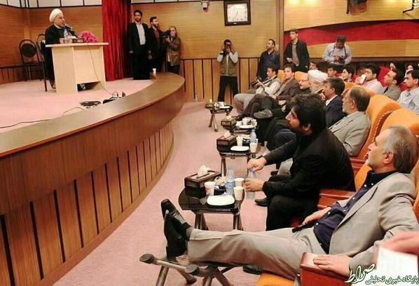 عکس/ میزعسلی برای پاهای برادر رئیس جمهور!