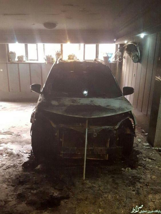 خودروی یک کاندیدا آتش زده شد +تصاویر