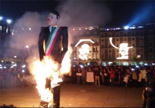 مکزیکیهارئیسجمهور را آتش زدند+تصاویر