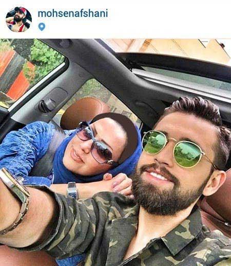 سلفی محسن افشانی و مادرش در ماشین لوکسش