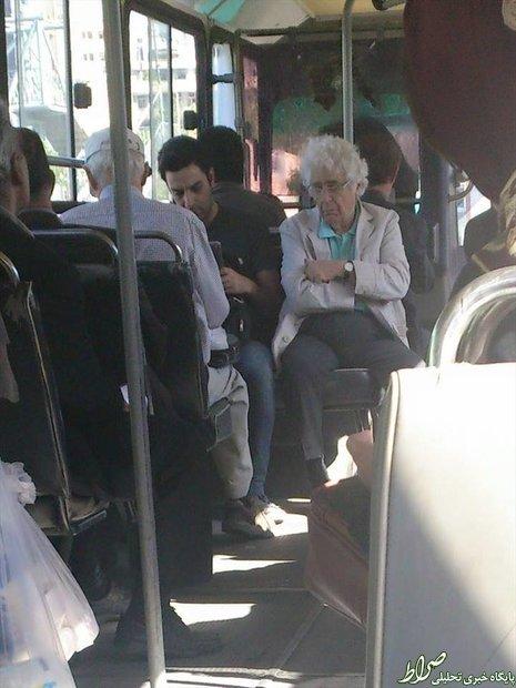 عکس/ استاد موسیقی سوار بر اتوبوس