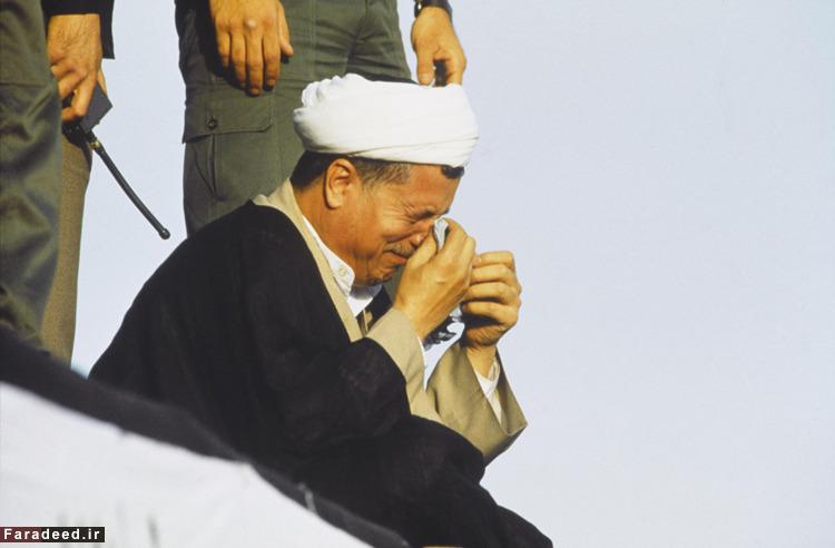 عکس/ اشک رفسنجانی در ارتحال امام(ره)