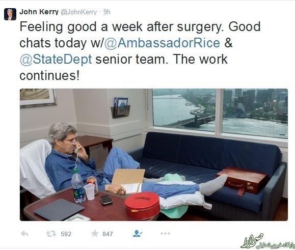 عکس/ جان کری روی تخت بیمارستان