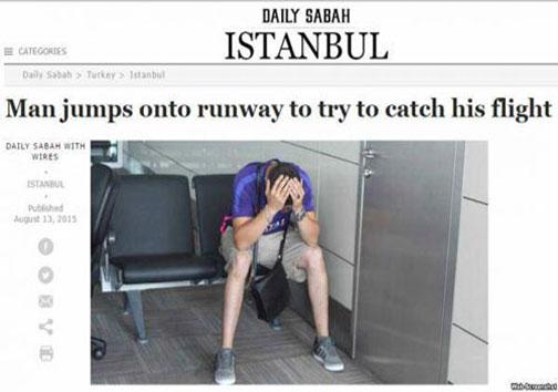 مردی که به دنبال هواپیما دوید! +عکس