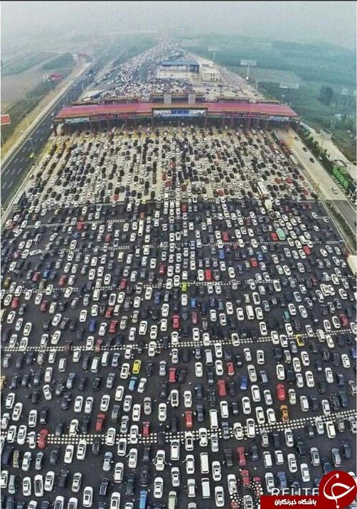 تصویری از ترافیک وحشتناک درچین