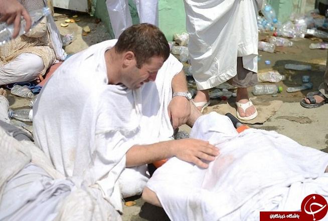 عکس/ وداع تلخ پسر و پدر در حادثه منا