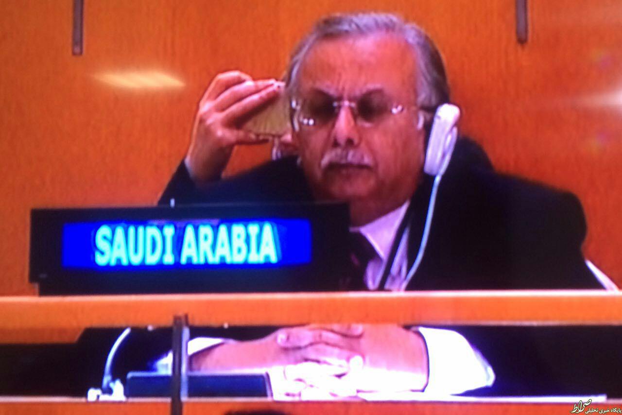 عکس/ اخم های نماینده سعودی هنگام نطق روحانی