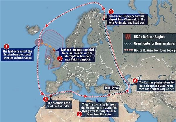 مسیر عجیب بمبافکنهای روسی+نقشه
