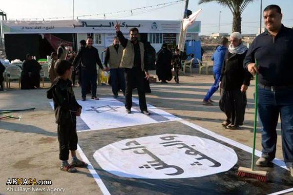 تصاویر/پرچم اسرائیل و داعش زیرپای زائران