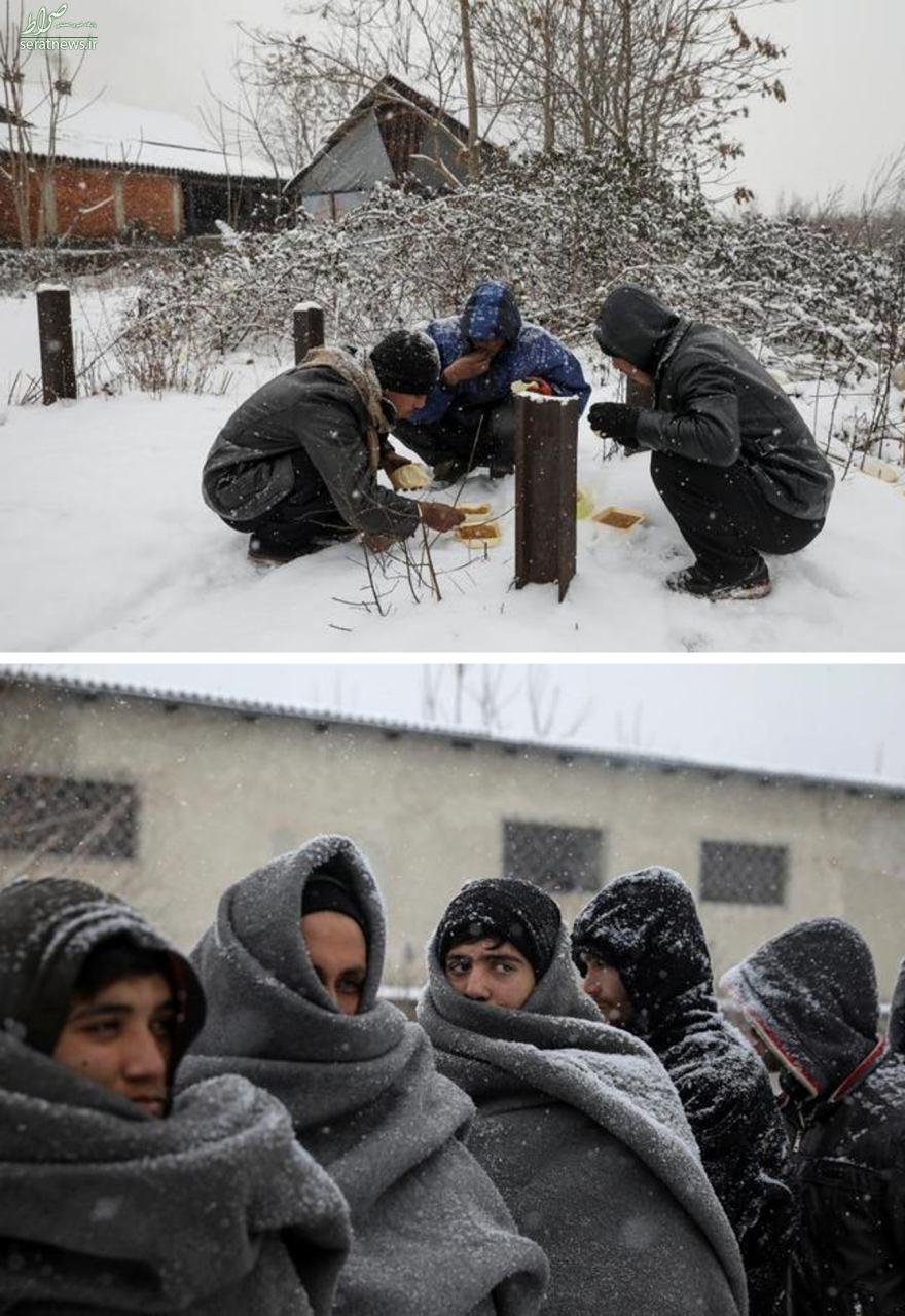 تصویری از رنج پناهجویان در سرمای اروپا