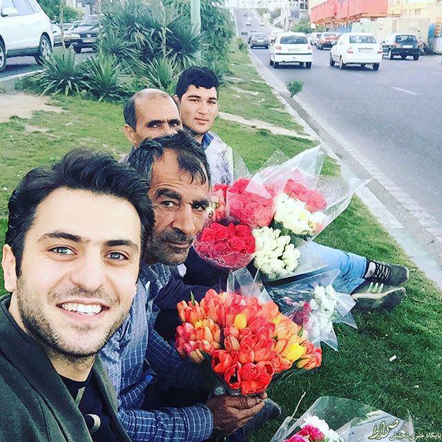 عکس/ سلفی علی ضیاء و گل فروشان