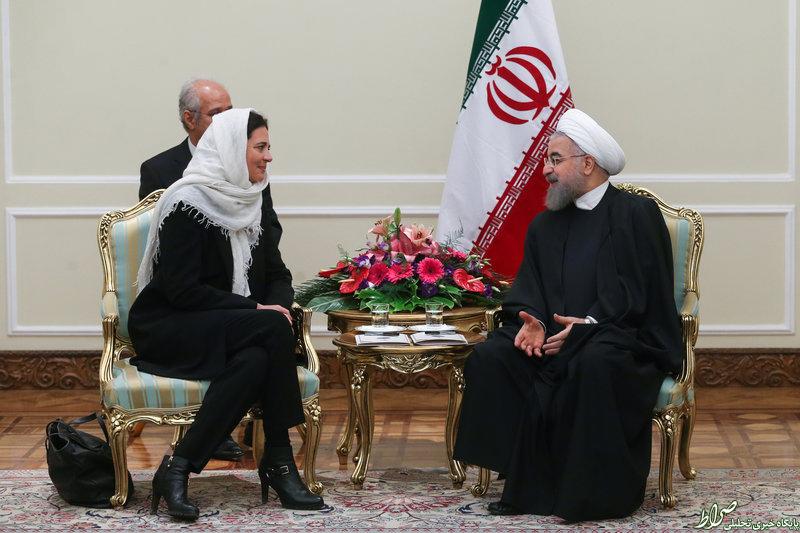 عکس/ پا روی پا انداختن مقام زن بلژیکی مقابل روحانی