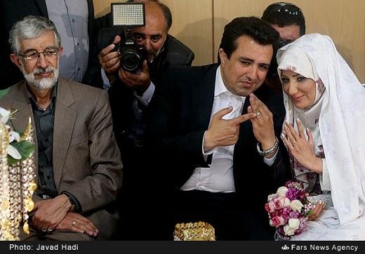 عکس/ حداد عادل کنار عروس و داماد