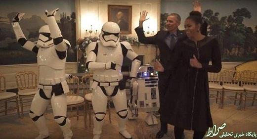 عکس/رقص اوباما و همسرش با جنگ ستارگان