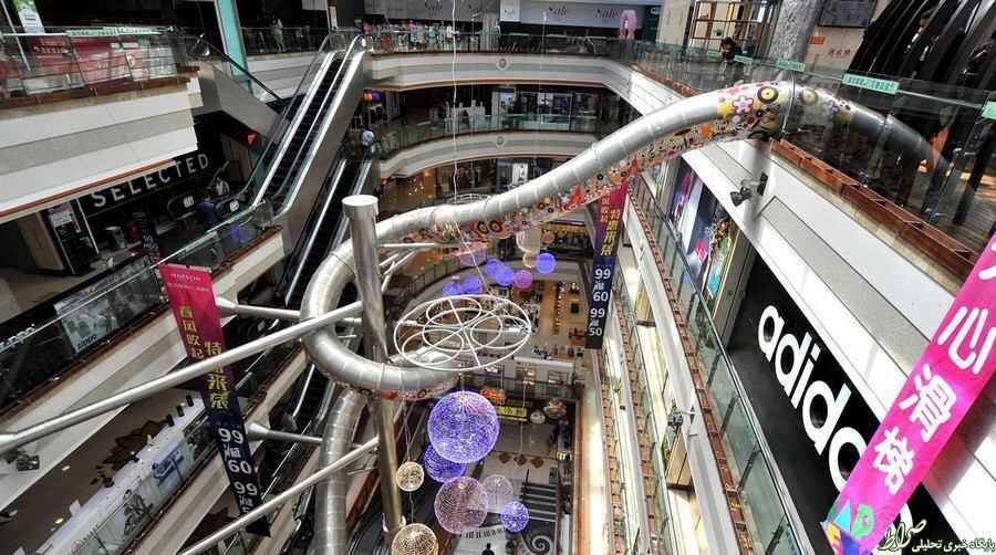 عکس/ سرسره ای ترسناک در طبقه پنجم پاساژی در شانگهای
