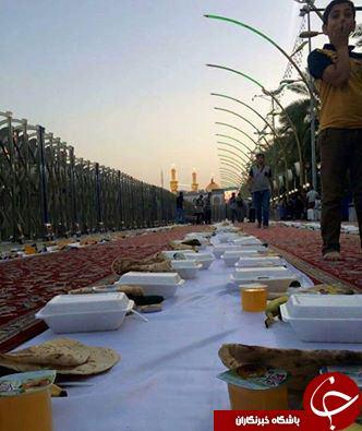 عکسی زیبا از سفره افطار در بین الحرمین