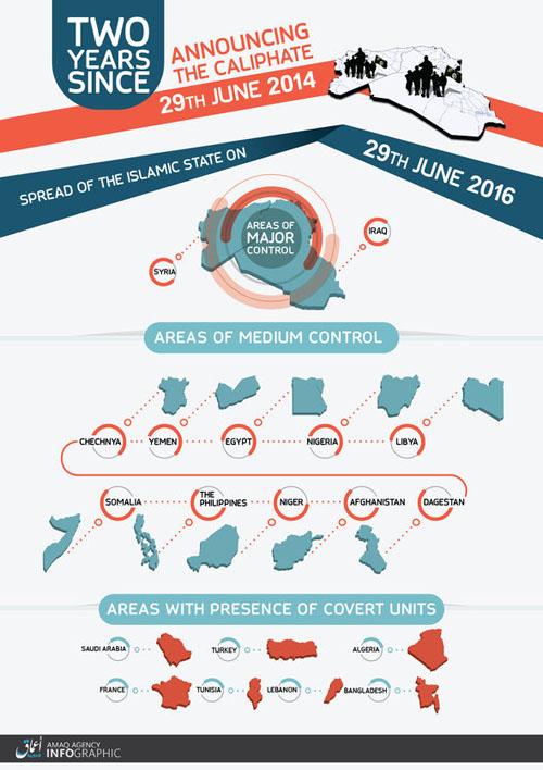 نقشه کشورهایی که داعش در آنها نفوذ دارد  +عکس