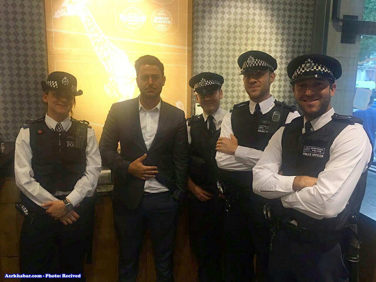 عکس یادگاری پلیس لندن با محمدرضاگلزار