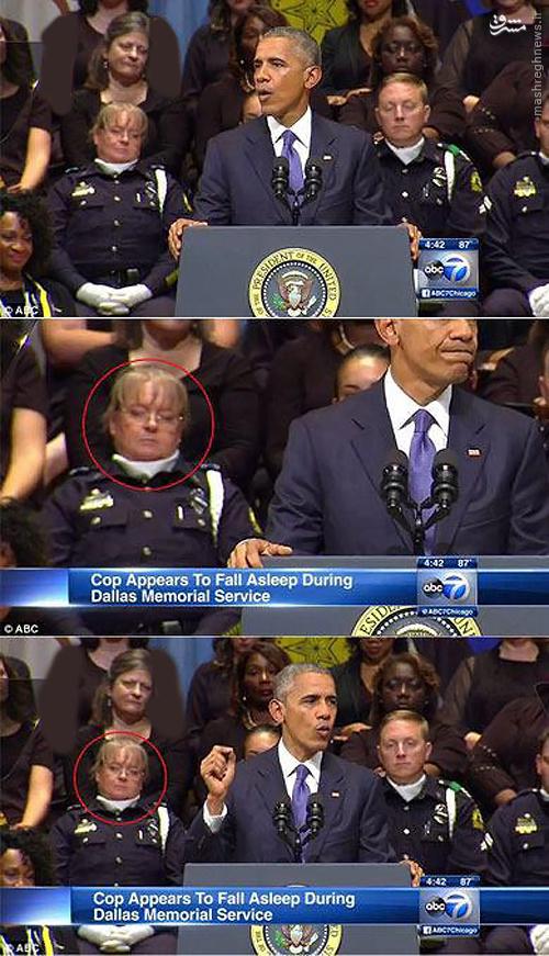 عکس/ زنی که در سخنرانی اوباما سوژه شد