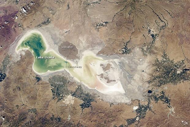 تازه ترین تصاویر ناسا از دریاچه ارومیه