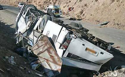 واژگونی اتوبوس در خراسان شمالی