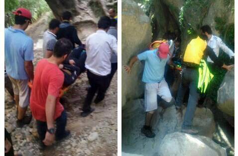سقوط یک زن از ارتفاعات تنگ تامرادی+عکس