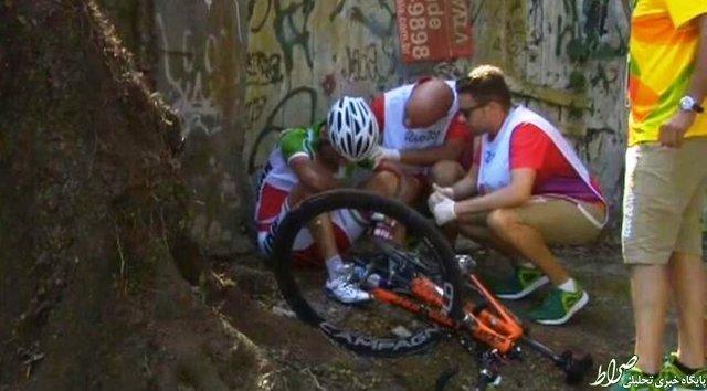 عکس/ حادثه برای رکابزن المپیکی ایران