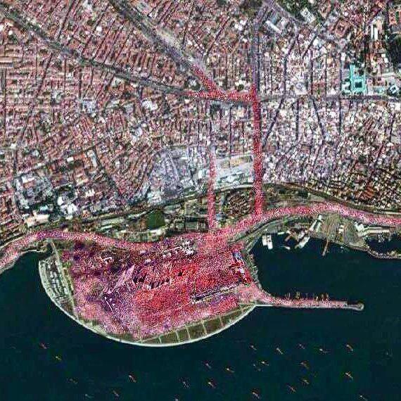 عکس ماهوارهای از تجمع دیروز در استانبول