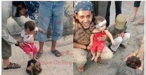 عکس/ بازی نوزاد با سر بریده سرباز سوری