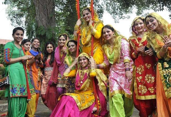 جشن تیج, زنان هندو ,جشن اعلام وفاداری زنان هندو به شوهران ,دختران مجرد هندی,girls-enjoy-teej-festival-in-chandigarh