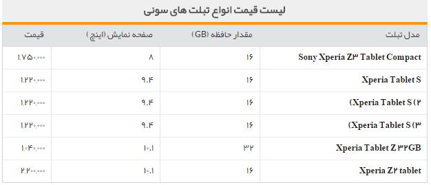 جدول/قیمت روز تبلت های سونی در بازار
