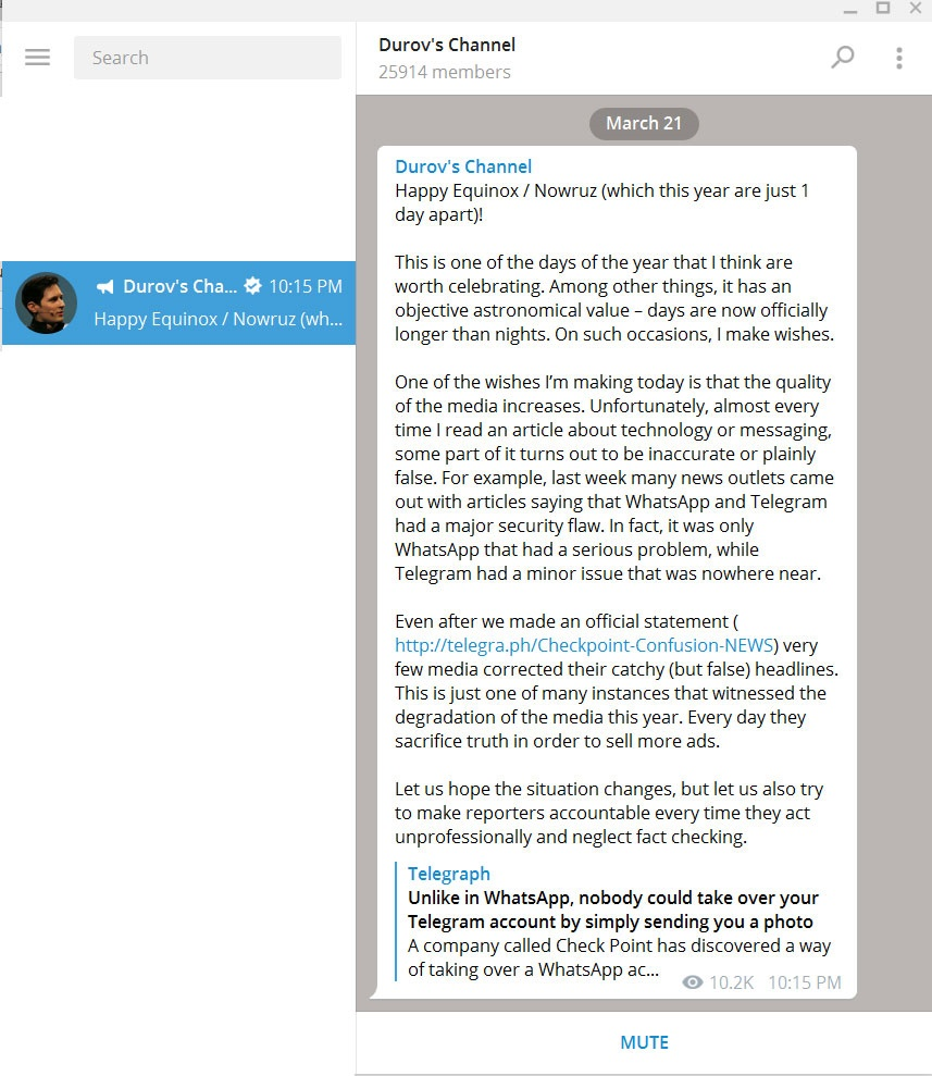 مؤسس تلگرام نوروز را تبریک گفت +عکس