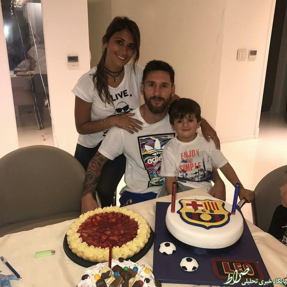 عکس/ مسی در کنار همسر و پسرش