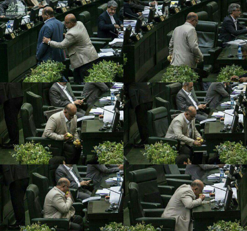 عکس/ گلابی خوردن یک نماینده هنگام سخنرانی روحانی