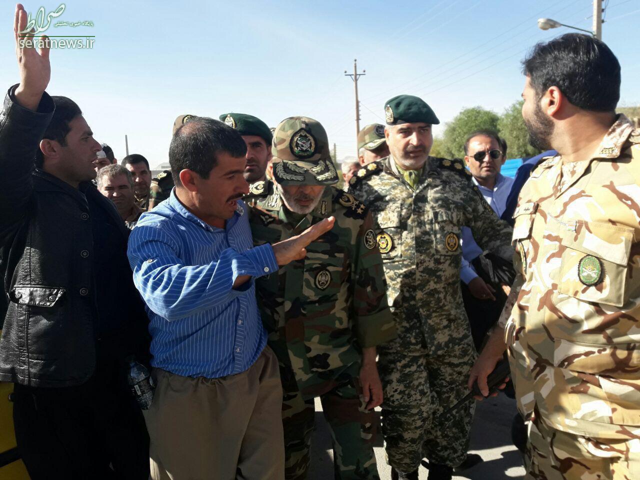 عکس/ فرمانده کل ارتش و فرمانده نیروی زمینی ارتش در سرپل ذهاب
