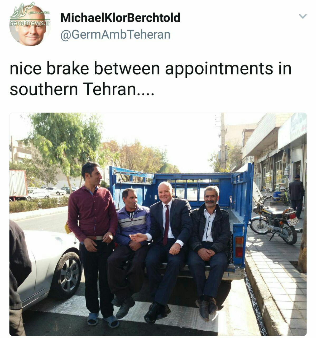 عکس/ سفیر آلمان در تهران سوار بر نیسان آبی
