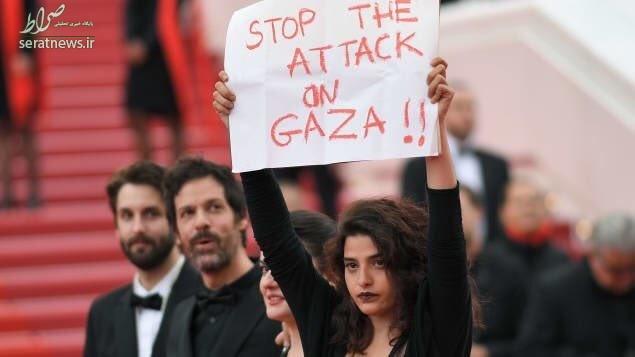 عکس/ دفاع بازیگر زن از مردم غزه روی فرش قرمز جشنواره کن